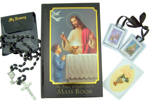 Boy First Communion Gift Set with Missal, Rosary, Lapel Pin and More Deluxe Catholic Gift Bible