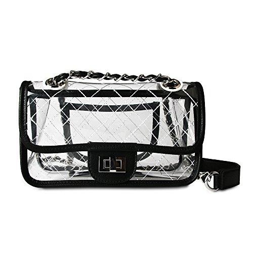 45faf222aa7a Olyphy Designer Shoulder Bag for Women Transparent Clear Handbag PVC  Waterproof Crossbody Bag Set (black