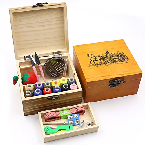 HaloVa Wooden Sewing Box, Sewing Kit with Wooden Box, Sewing Supplies with Scissors, Thimble, Thread, Needles, Tape Measure, Storage Box and Accessories, Great for Kids, Travel, Emergency, ()