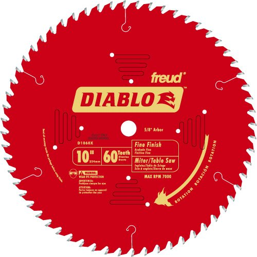 Diablo D1060X 10'' 60T Diablo™ Fine Finish Work Chop Miter and Table Saw Bl