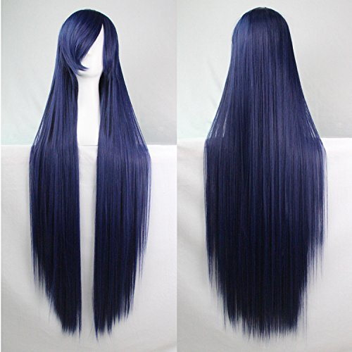 Ellena Womens/Ladies 100cm Black&Blue Long STRAIGHT Cosplay/Costume/Anime/Party/Bangs Full Sexy Wig (100cm,Straight,Black&Blue)