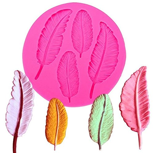 4 Cavities Feather Silicone Mold Silicone Feather Cake Cupcake Backing Mould Fondant (4 Cavities Candy Mold)