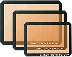 DIRECT FROM FACTORY Silicone Baking Mat (Pack of 2) - 16.5 x 11.5 inches, Reusable Baking Mat for Cookies, Macarons,...