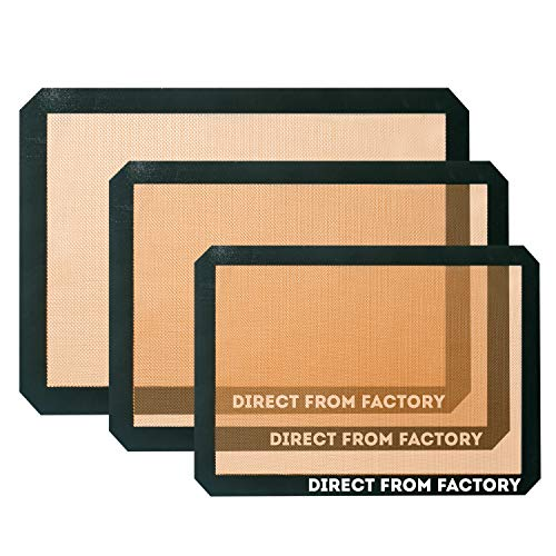 DIRECT FROM FACTORY Silicone Baking Mat (Pack of 3) – 22.86×33.02 cm, 25×37.5cm, 42×29.5cm – Non Stick Sheet for Pastry…