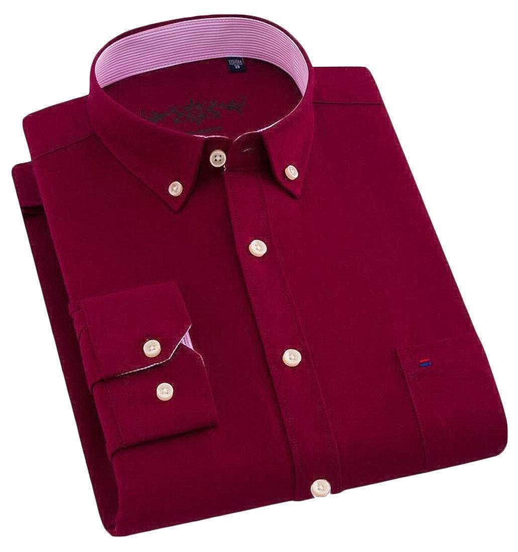 Cromoncent Men Slim Fit Button Down Long Sleeve Oxford Business Shirts