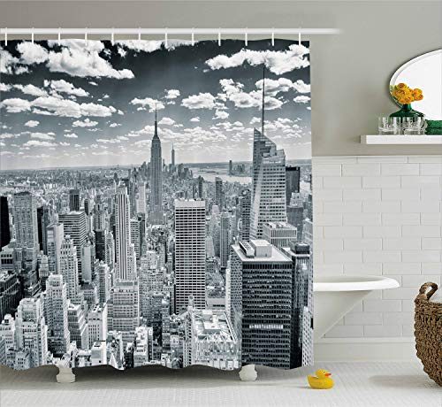 (Ambesonne New York Shower Curtain, NYC Over Manhattan from Top of Skyscrapers Urban Global Culture Artful City Panorama, Fabric Bathroom Decor Set with Hooks, 84 Inches Extra Long,)