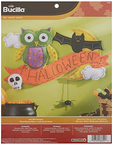 (Bucilla Felt Applique Wall Hanging Kit, 19.5 by 15-Inch, 86691 Halloween Owl)