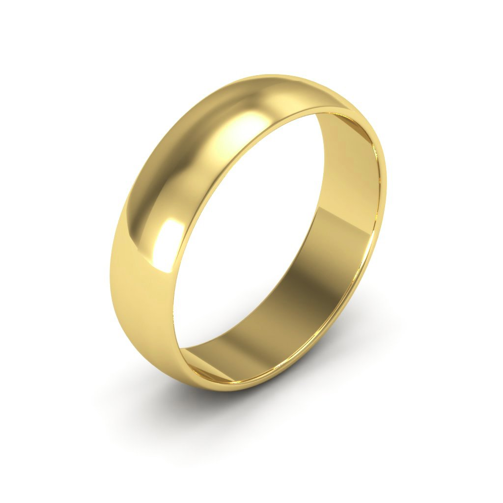 14K Yellow Gold men's and women's plain wedding bands 5mm light half round, 7.75