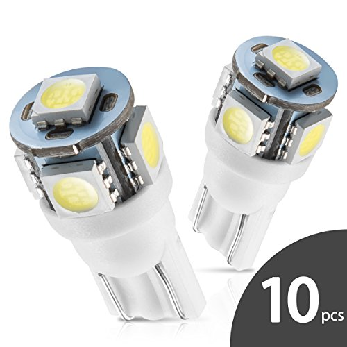 ht Bulb 6000K 168 T10 2825 5SMD LED Replacement Bulbs for Car Dome Map Door Courtesy License Plate Lights (Pack of 10) (Dodge Colt Turbo)