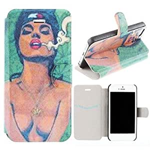 Mini - Coloured Drawing Sexy Female Body Pattern Clamshell PU Leather Full Body Case with Card Slot for iPhone 5/5S