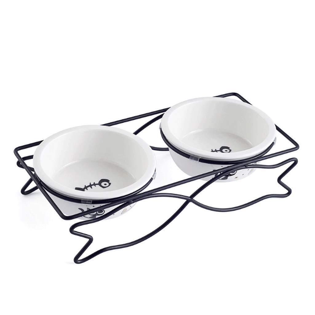 B M B M GJ Medium Fish-shaped Pet Bowl Dog Bowl Cat Pot Stainless Steel Dish Rack Ceramic Double Bowl (color   B, Size   M)