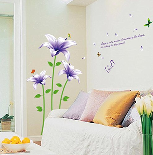 (BIBITIME Green Stems Leaves Purple Lily Wall Decal Flower Vinyl Sticker Butterfly Sayings Love Quotes for Living Room Valentine's Day Couple Bedroom Art Mural )