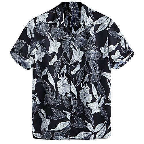(Mens Beachwear Shirt,Printed Turn Down Collar Short Sleeves Loose Button Down Casual Shirts Hawaiian Beach Party Top Black)
