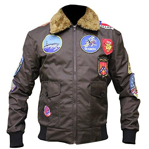 The Jasperz Top Gun Tom Cruise Jet Fighter Bomber Jacket TopGun Cordura Jacket, XXS-3XL Brown