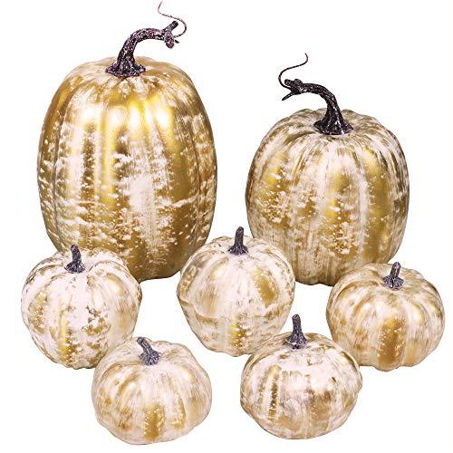 7 Pcs Assorted Sizes Fall Artificial Pumpkins Harvest Pumpkins Faux Foam Pumpkins for Fall Autumn Season Halloween…