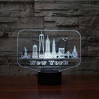 Nueva York EE. UU. Edificio 3D RGB Luz de Noche 7 Cambio de color ...