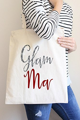 Bag Bag Ma Glam Casual Bag Silver Tote Cotton Shopping Hand 00pwSqtr