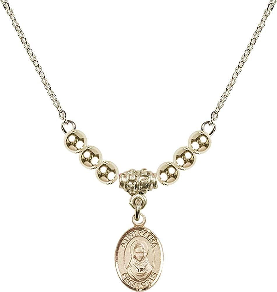 Bonyak Jewelry 18 Inch Hamilton Gold Plated Necklace w// 4mm Gold Filled Beads and Saint Rafka