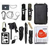 CAMWAY 13 in 1 Emergency Survival Kit with Tactical Pen Survival Knife Tactical Flashlight Fire Starter Whistle Paracord Bracelets Survival Tools for Travelling Hiking