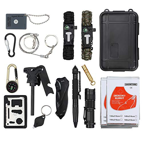 CAMWAY 13 in 1 Emergency Survival Kit with Tactical Pen Survival Knife Tactical Flashlight Fire Starter Whistle Paracord Bracelets Survival Tools for Travelling Hiking by CAMWAY