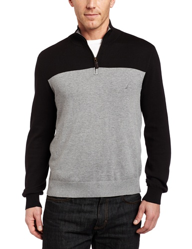 Nautica Men's Bon Ton Color Block Sweater, Ash ()