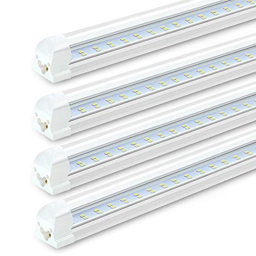 SHOPLED 8FT LED Shop Light Fixture 72W, 7200LM, 6000K Cool White, Dual Row T8 Integrated LED Tube Lights, High Output Bulb for Garage, Warehouse, Workshop, Basement, Clear, Linkable Lamp Pack of 4