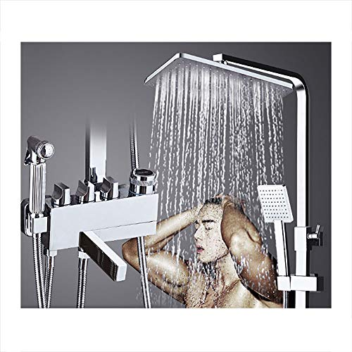 ZQDL 4-in-1 Shower Set, European Copper Body, Mixing Valve Faucet, Knob Control, Supercharged Adjustable Hand Shower, Liftable Shower Rod