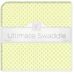 SwaddleDesigns Ultimate Swaddle Blanket, Made in USA, Pastel Polka Dots, Kiwi