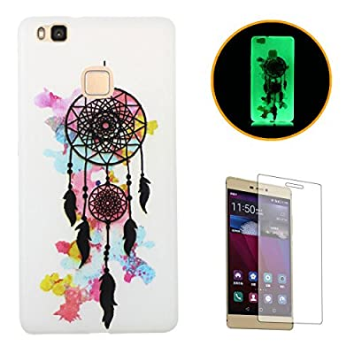 HUAWEI P9 Lite Luminous Case [With Free Screen Protector],CaseHome Creative Unique Colorful Pattern Printed Design Fluorescent Effect Night Glow In The Dark Ultra Slim Thin Transparent Clear Soft Flexible Rubber Bumper Jelly Silicone Gel TPU Protective Case Cover Skin for HUAWEI P9 Lite-Colorful Doughnut - more-bags
