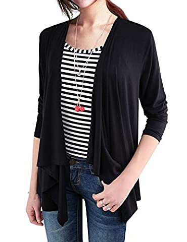 EGO ECHO Long Sleeve Open Front Cardigans for Women - Draped Cardigan (Black, S) (Summer Echoes)