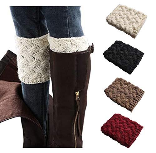 Xugq66 4 Pairs Women Winter Leg Warmer Crochet Knit Boot Cuffs Socks (4 Pair-a3) by Xugq66
