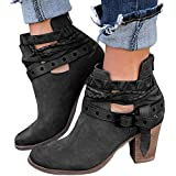 Minetom Women Autumn Round Toe Lace up Ankle Buckle Chunky High Heel Platform Knight Martin Boots Black 9 B (M) US