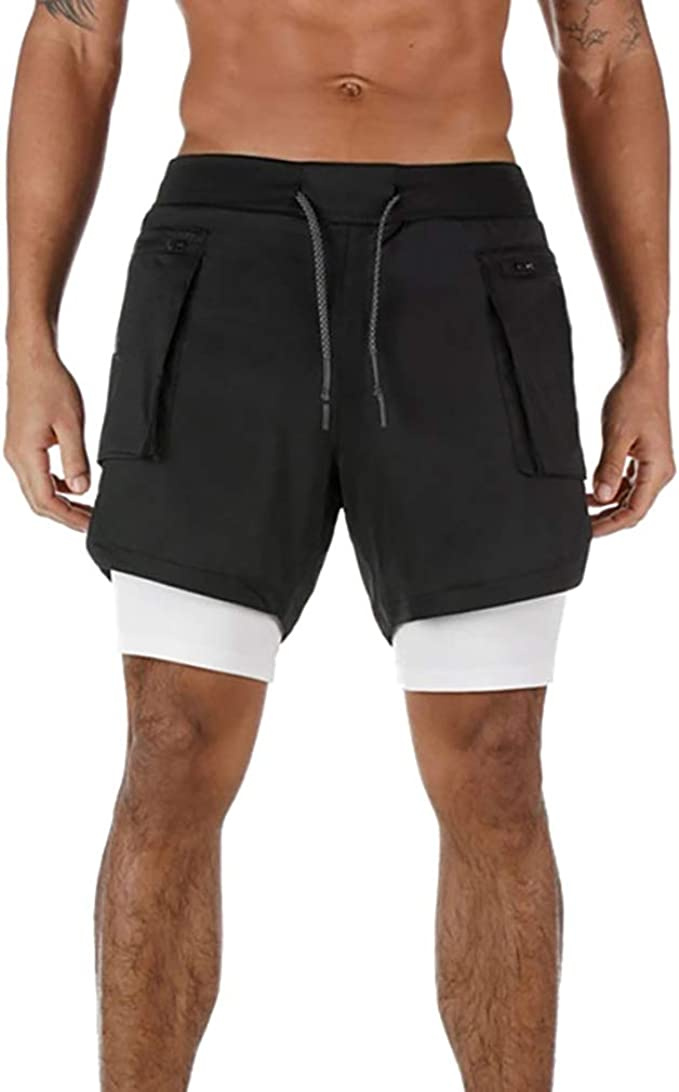 Susclude Mens 2 in 1 Running Shorts Summer Training Gym Quick Dry Workout Shorts with Pocket/&Headphone Hole