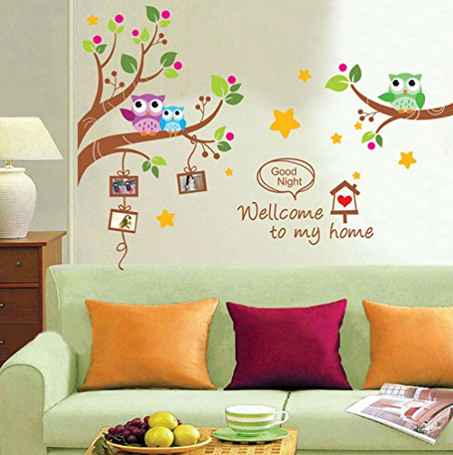 Cartoon Owls Tree Branches Wall Decals, Children's Room