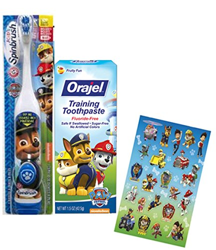 "Paw Patrol Toothbrush Chase Inspired"" 2pc. Little Pup's Bright Smile Oral Hygiene Trainning Set! Plus Bonus Paw Patrol Reward Stickers!"