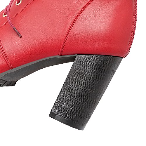 Tacón Sólido Alto Encaje Cordones AgooLar Baja con PU Caña Botas Mujeres Rojo nUORxBq4