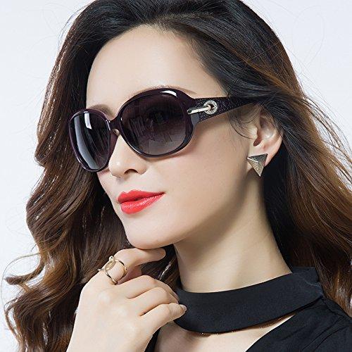 Gafas polarizadas Glasses 14 6cm Cara 5 Retro 2 Mujeres negro Flash Marrón Elegante Gafas Larga Ojos Grande Redonda Gafas Cara Caja de Sol WWF Hembra dtqYd