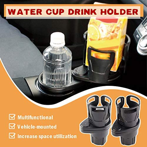Multifunctional car Cup Holder A Vehicle-Mounted Water Cup Drink Holder Universal Car 2 in 1 Dual Cup Mount Extender Organizer 360/°Rotating Adjustable Base Coffee Drinks Bottles Storage Rack