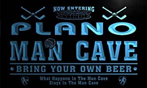 qe2121-b Plano State Cities Man Cave Hockey Bar Neon Beer Light Sign