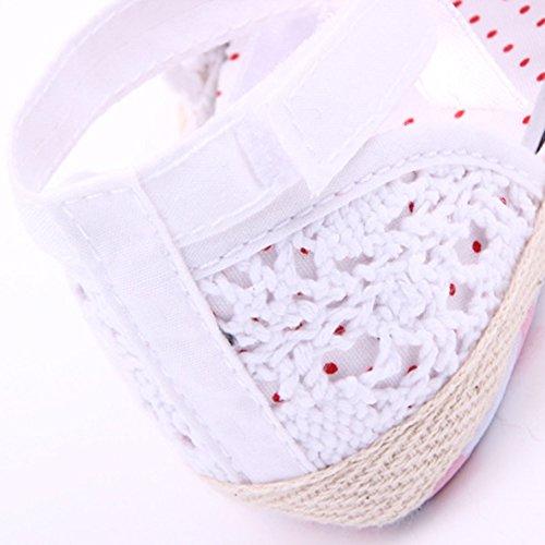 BOBORA Infantil Ninas Suave Unica Cuna Nino Antideslizante Del Ganchillo Del Knit Zapatos Blanco