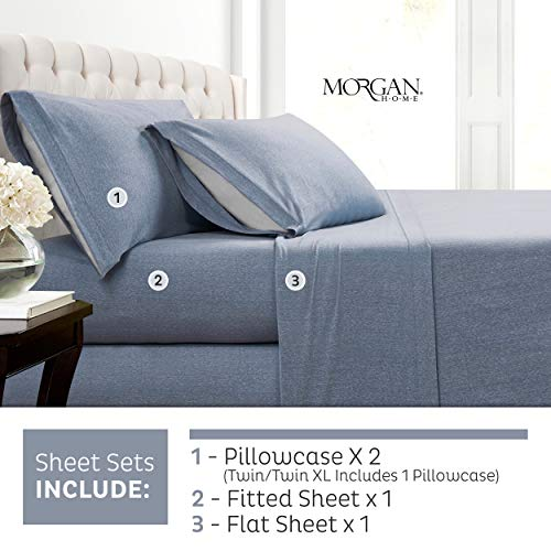 Morgan Home Cotton Rich T-Shirt Soft Heather Jersey Knit Sheet Set - All Season Bed Sheets, Warm and Cozy (King, Heather Blue)