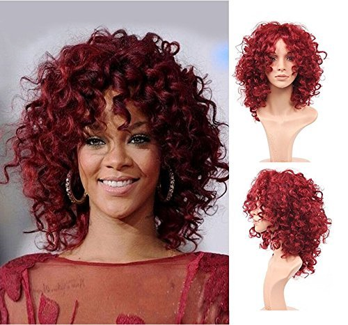 Royalvirgin Fashion Rihanna Style Synthetic Wig Peluca Charming Full Cap Hair Wigs Short Kinky Curly Red Wigs Synthetic Hair Wig for Women ()