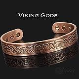 "Mens Viking Bracelet Copper Bracelet Pain Relief Magnetic Bracelet Arthritis Carpal Tunnel Tendonitis Tennis Elbow Healing Bracelet-Viking Gods (M: Wrist 16-19.5cm/6""-7.5"")"