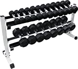 Ader 2 Tier 72'' Dumbbell Rack w/ 5-60 LB Rubber Dumbbells