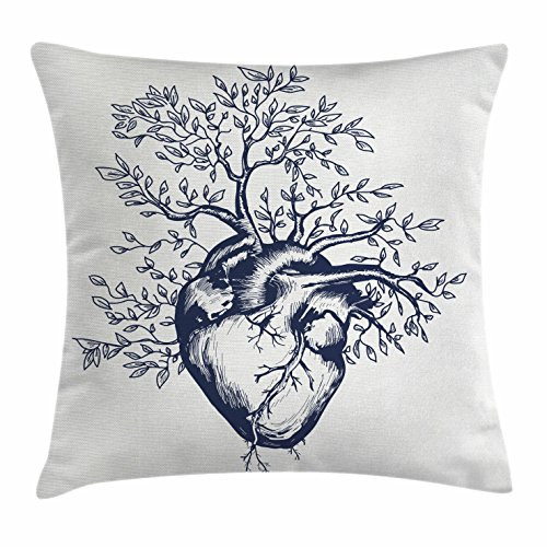 Family Tree Throw (Ambesonne Surrealistic Throw Pillow Cushion Cover, Human Heart Blooming with Tree Leaves Anatomy of Life and Love Concept, Decorative Square Accent Pillow Case, 24 X 24 Inches, Dark Blue Cream)