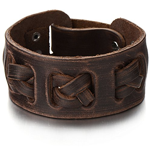 Interwoven Leather Bracelet Genuine Wristband