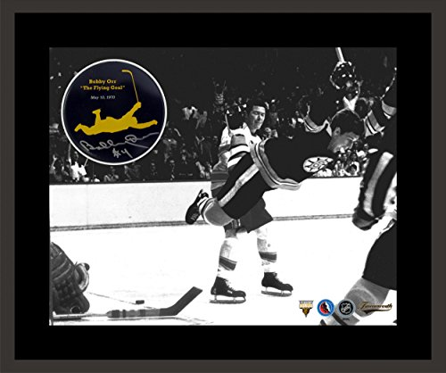 Bobby Orr Framed Puck with The Flying Goal Print - Autographed NHL Photos Bobby Orr Autographed Puck