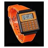 TOPSTARONLINE Fashion Colorful Unisex 8 Digit Alarm Calculator Watch Orange