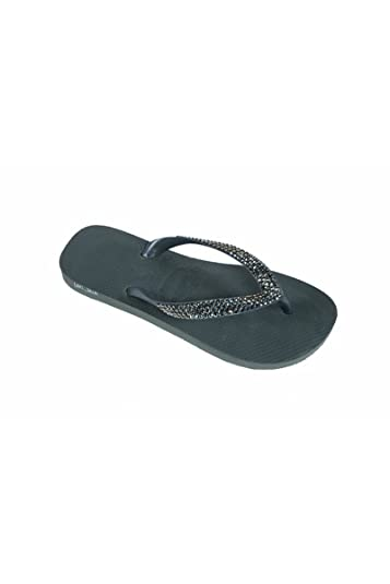 b2ddb3d8f Image Unavailable. Image not available for. Color  Lori Jack Swarovski  Crystal Flip Flops ...