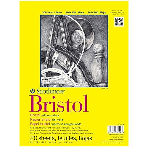 Strathmore 342-109 300 Series Bristol Vellum Pad, 9''x12'' Tape Bound, 20 Sheets by Strathmore